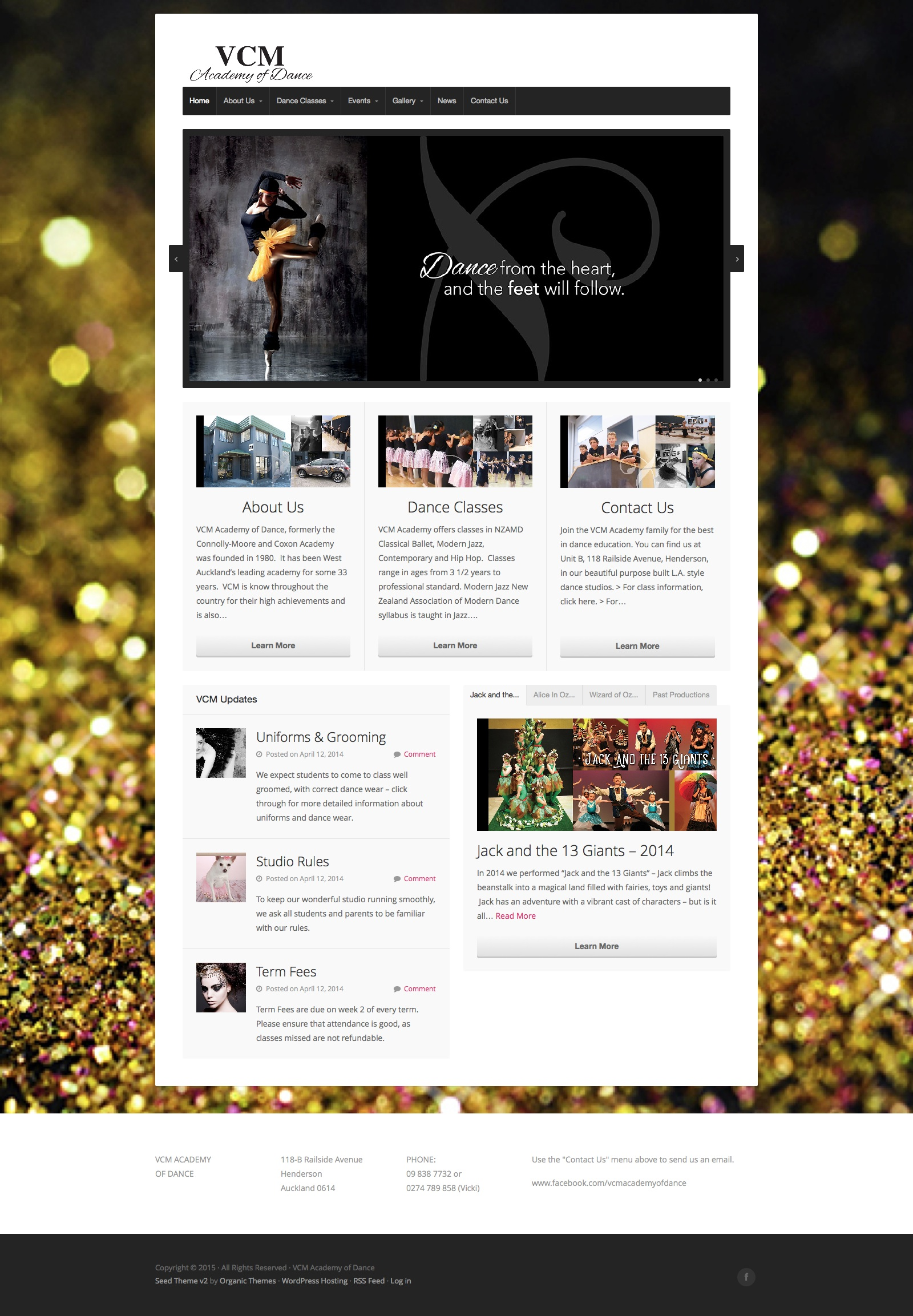 VCM Academy of Dance West Auckland website homepage