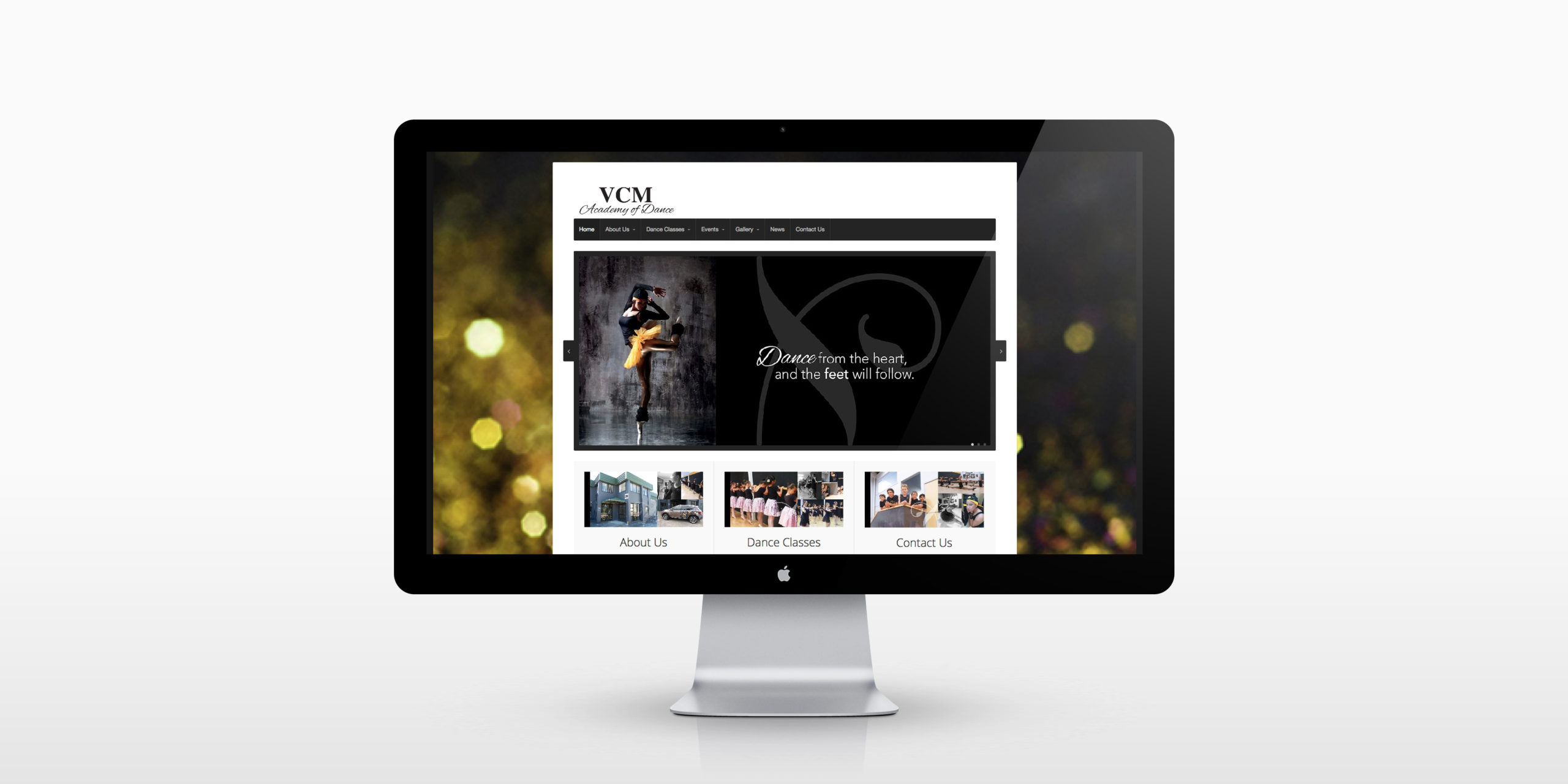 VCM Academy of Dance website homepage