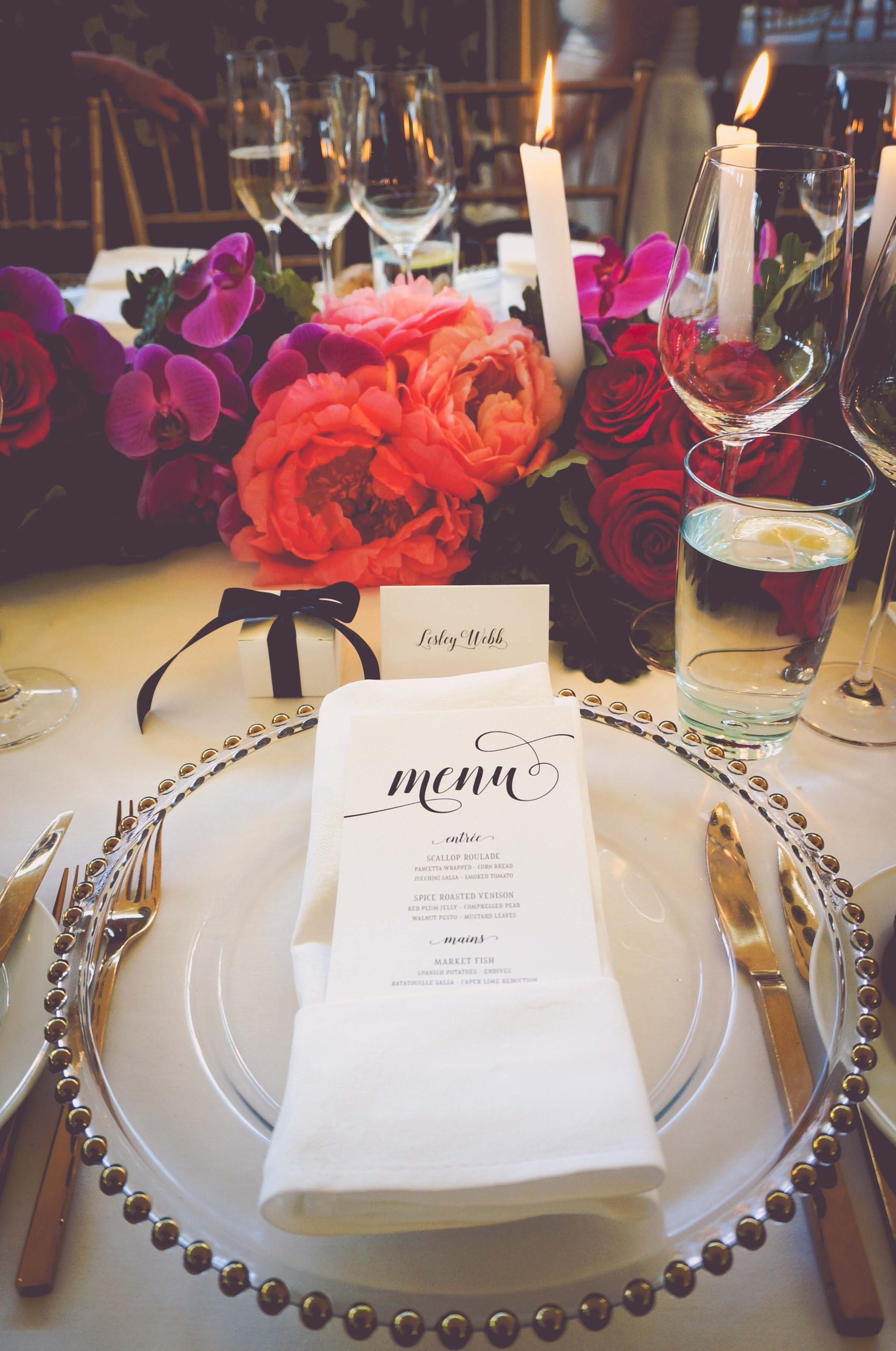 Wedding place setting with menu