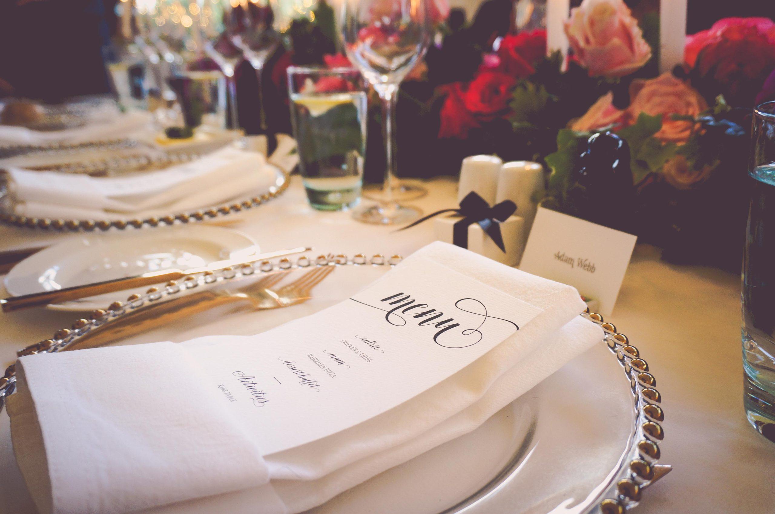 Wedding Menu in luxurious table setting