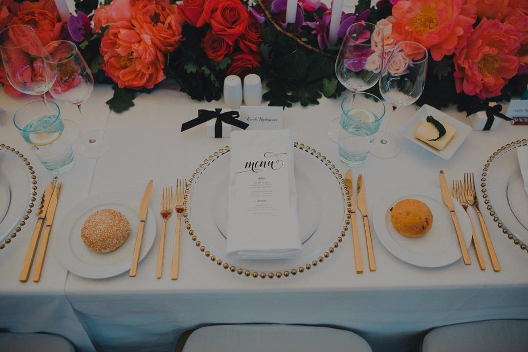 Wedding Suite Design showing Menu in luxurious table setting
