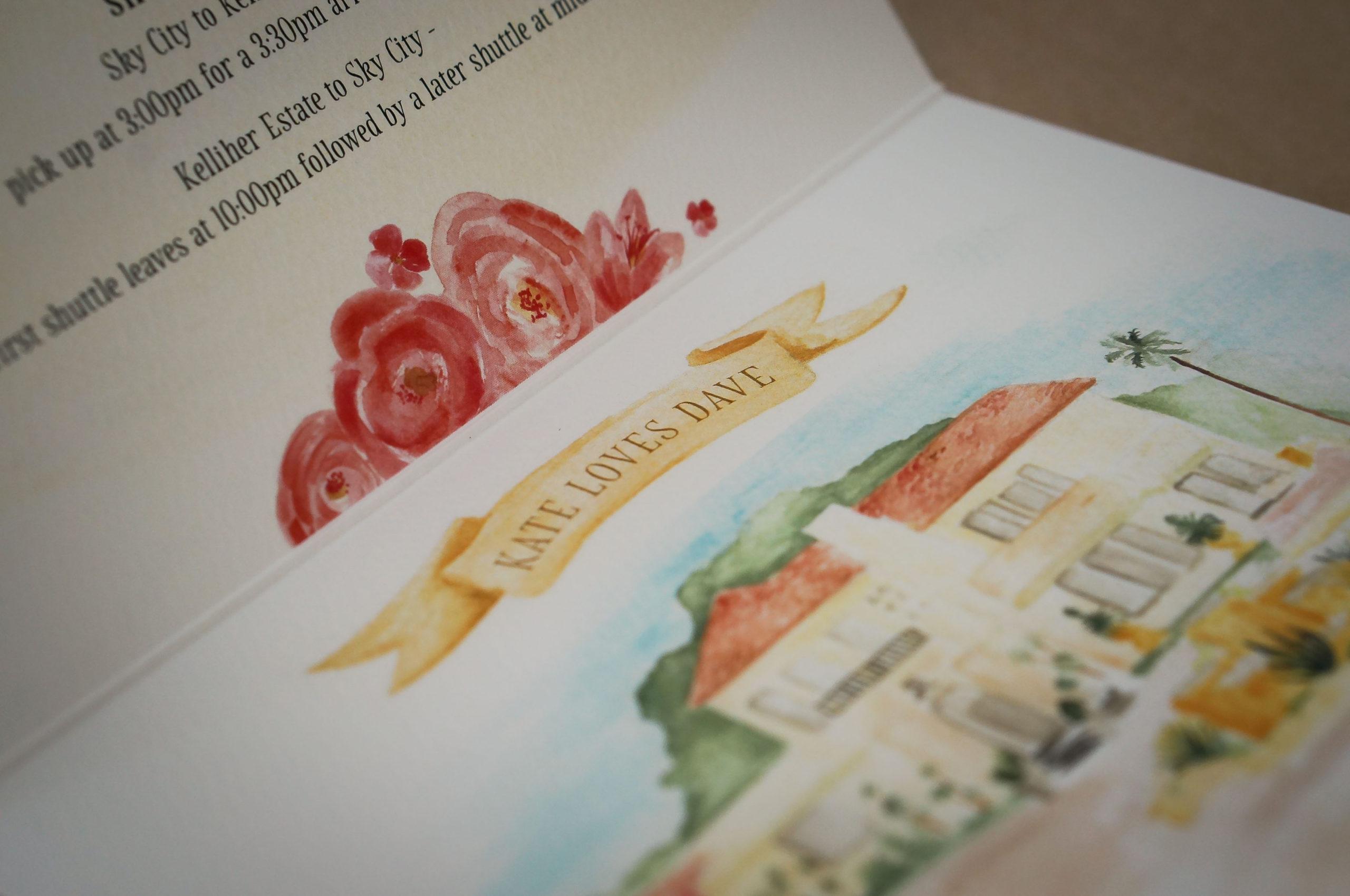 Wedding Invitation with custom watercolour illustrations