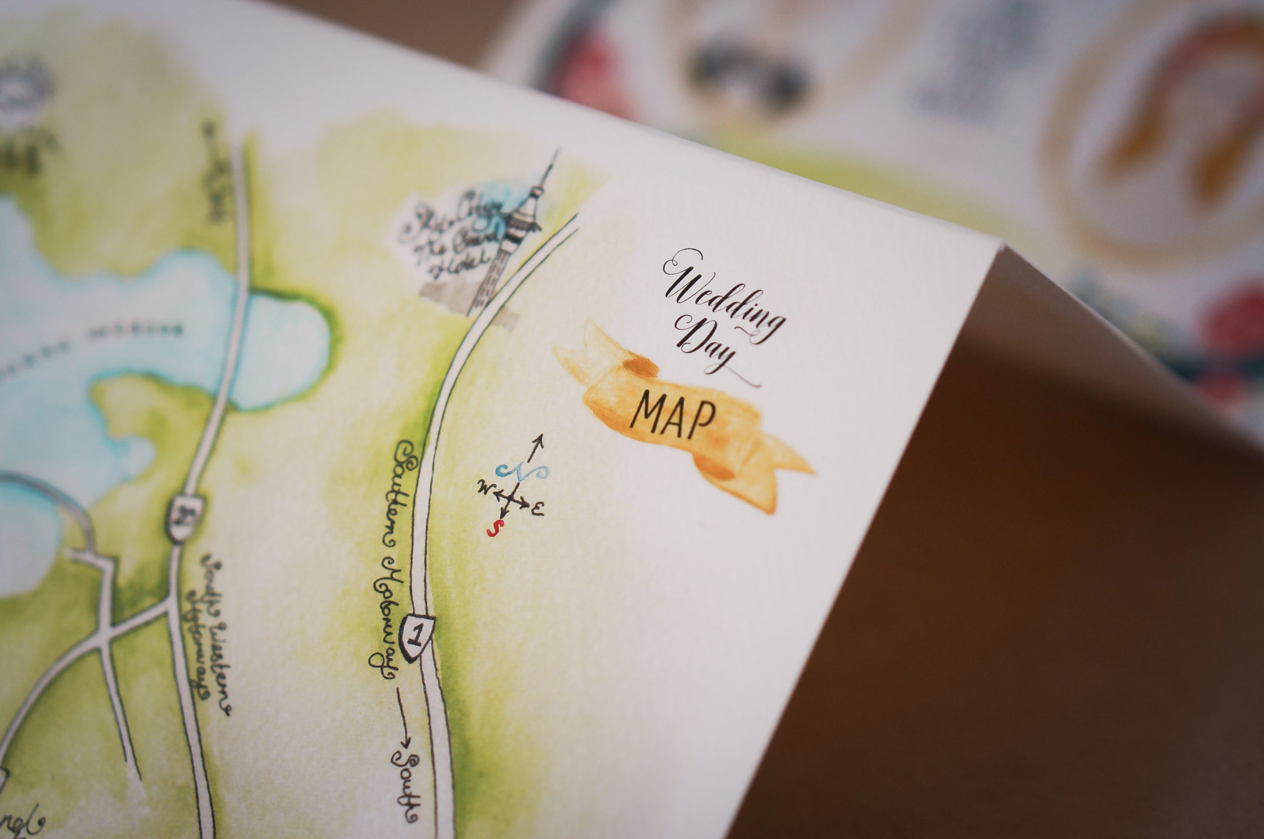 Wedding Invitation with custom watercolour map