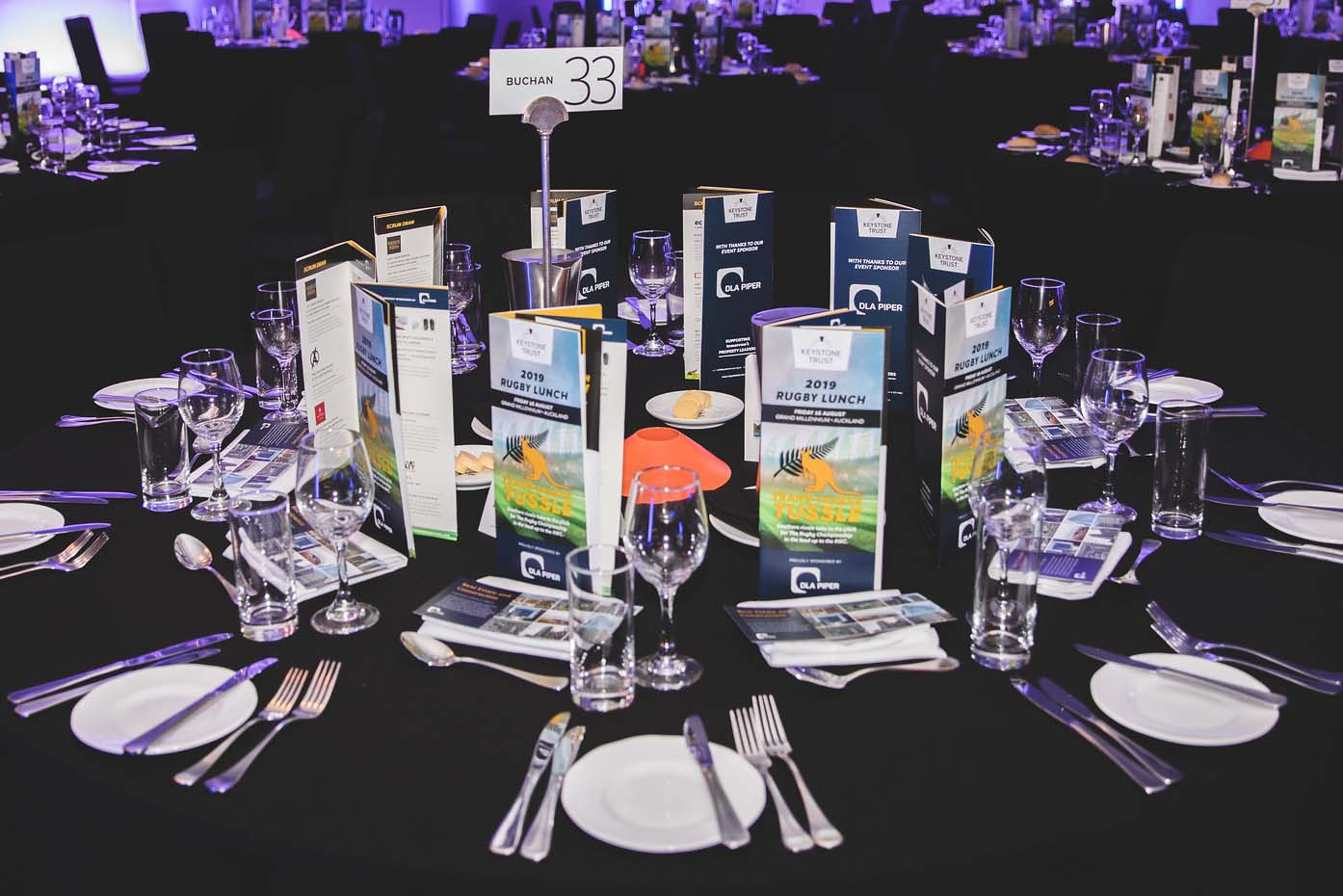 Keystone Trust Rugby Lunch 2019 guest tables set with auction booklets