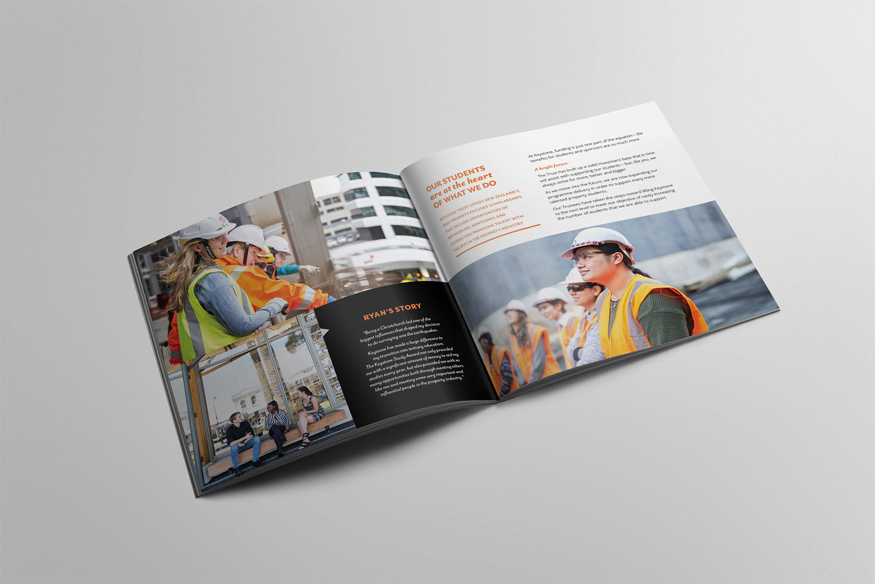 Keystone Trust profile square brochure open showing construction students