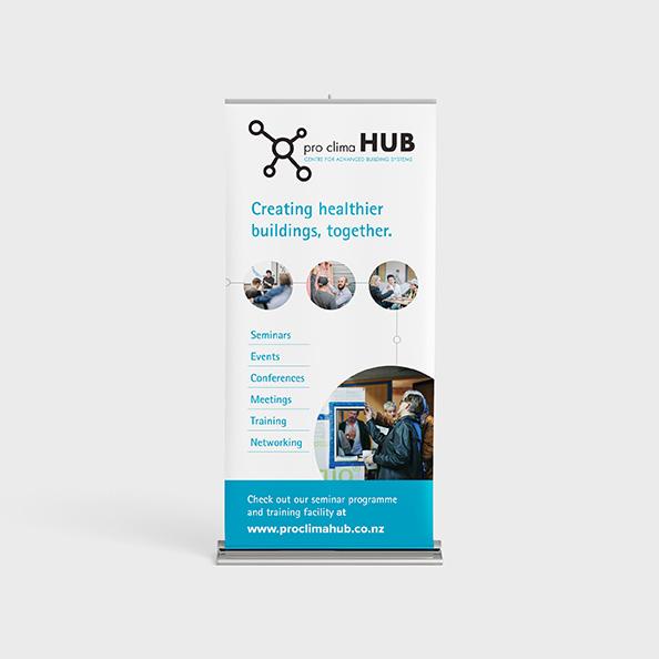 Pro Clima HUB pull up banner design mockup