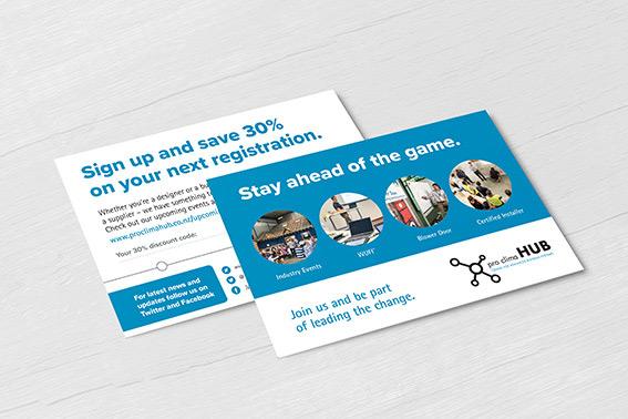 pro clima HUB promotional postcard design
