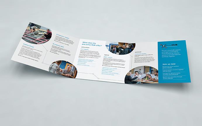 Pro Clima Hub profile square tri-fold brochure open