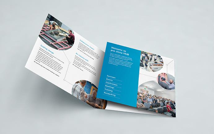 Pro Clima Hub profile brochure interior open