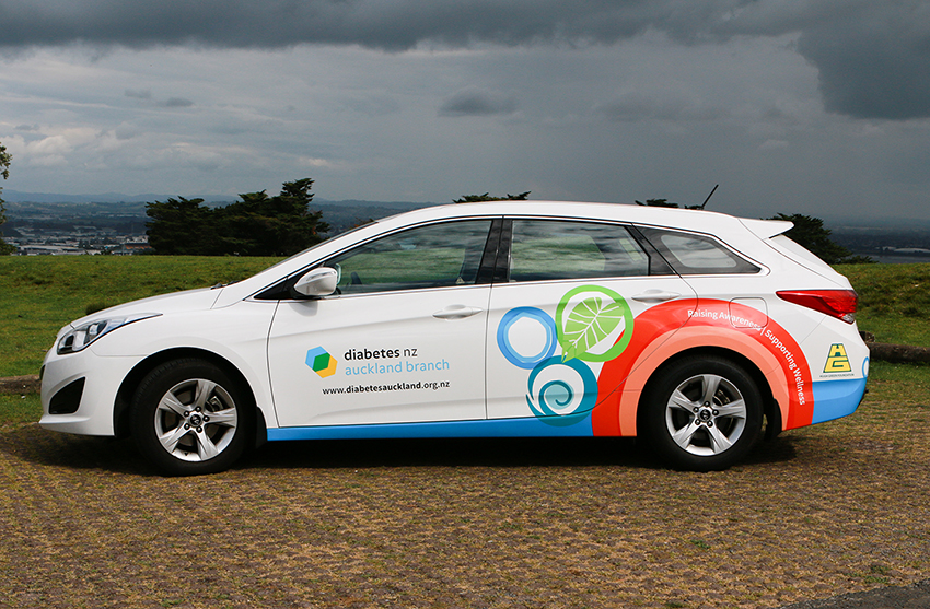 Diabetes NZ Auckland car with brand graphics