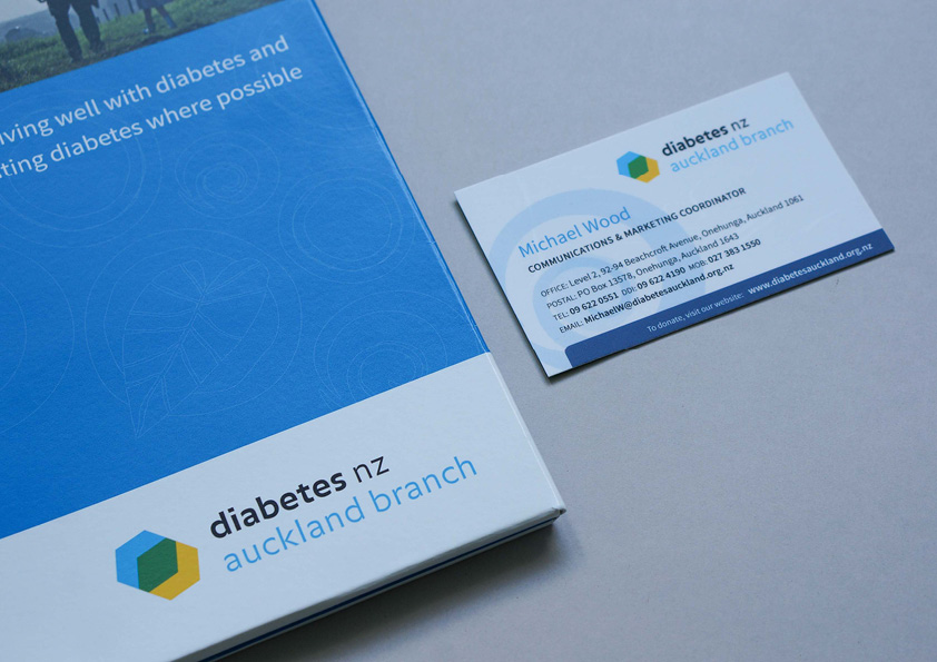 Diabetes NZ Auckland brand folder and business cards
