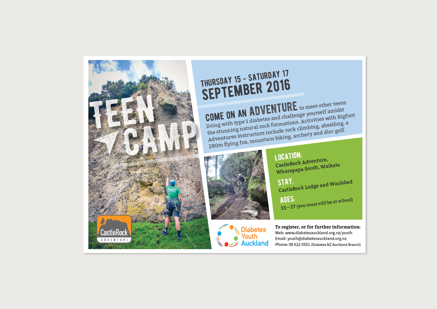Diabetes Youth Auckland Teen Camp 2016 Ad