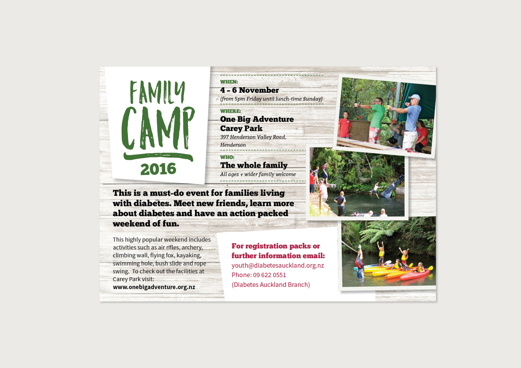 Diabetes Youth Auckland Family Camp 2016 Ad