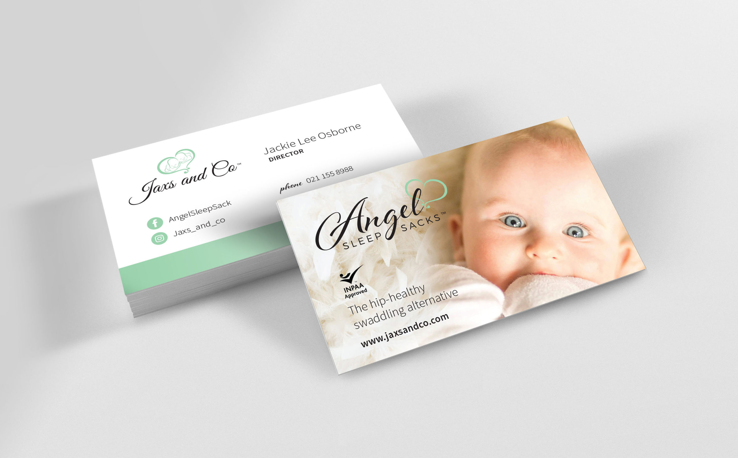 Baby product business card with photograph on reverse
