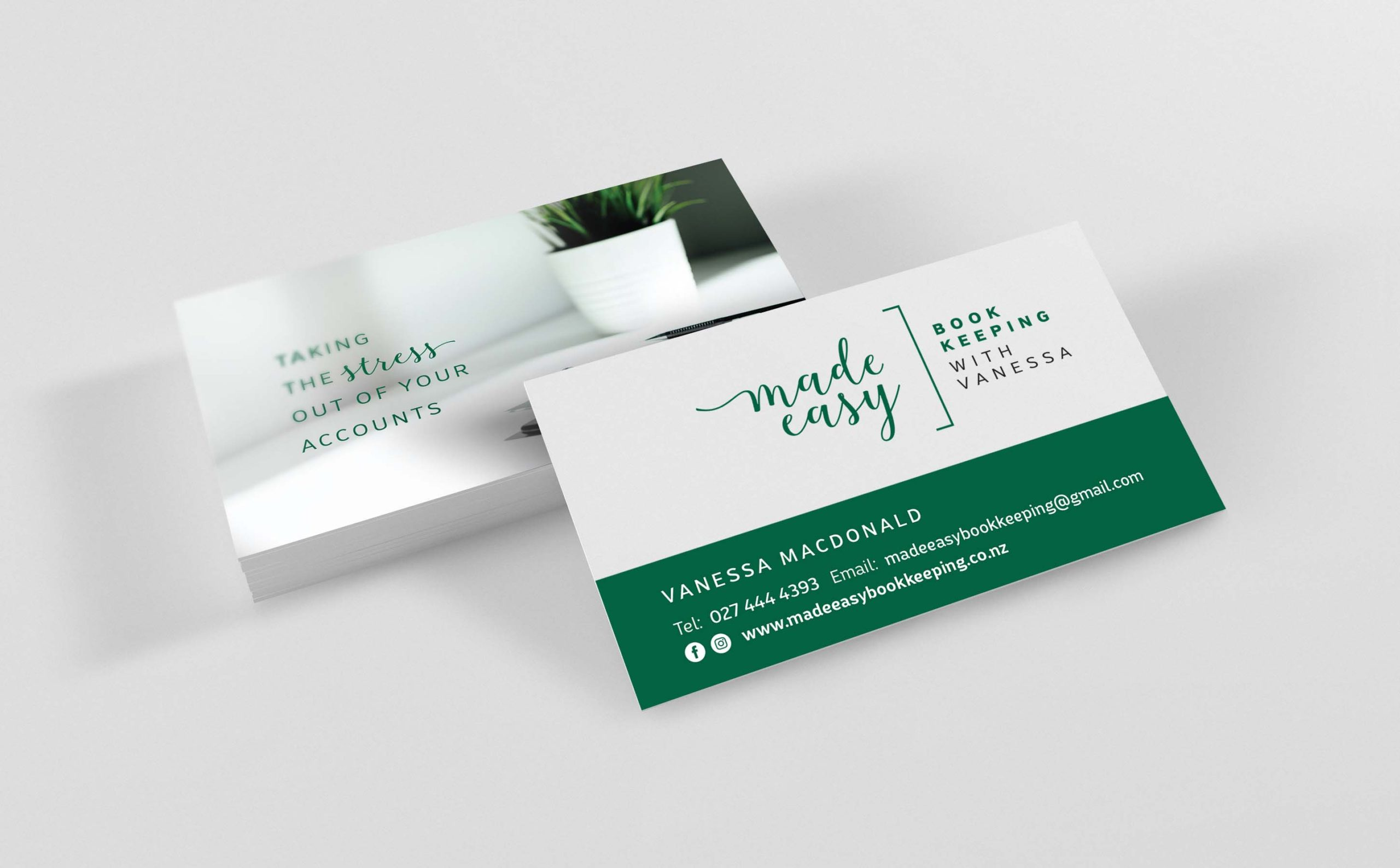 Made Easy Bookkeeping Business Cards Vanessa MacDonald