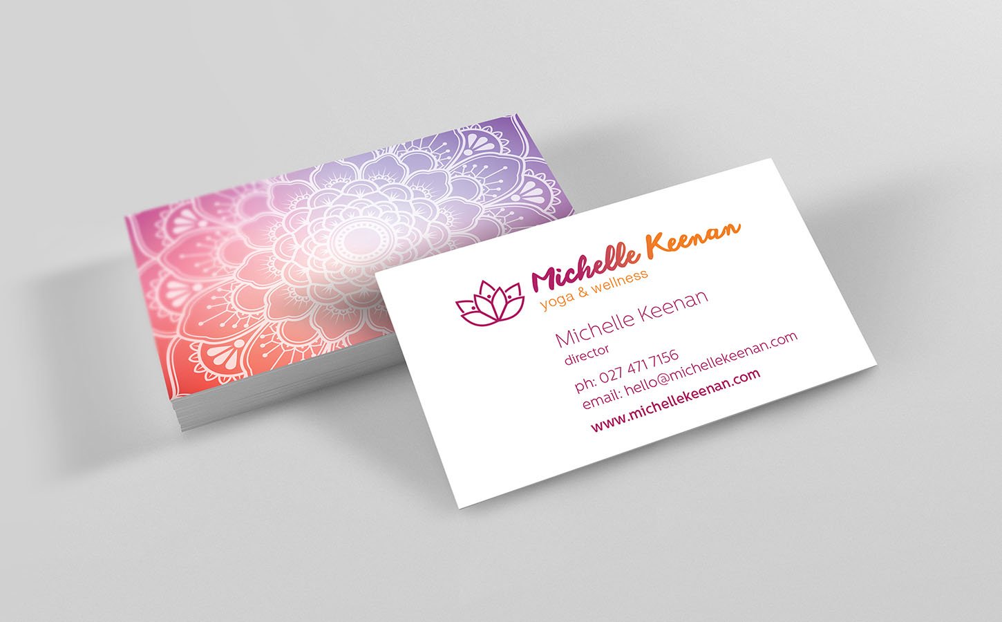 Business Cards Michelle Keenan Yoga Instructor