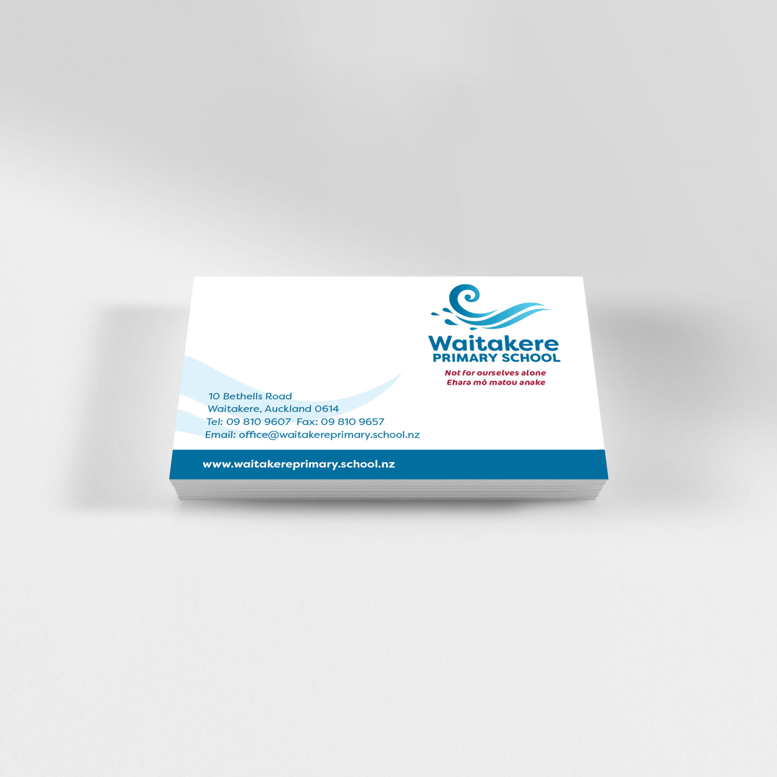 Waitakere Primary School Business Card Design mockup