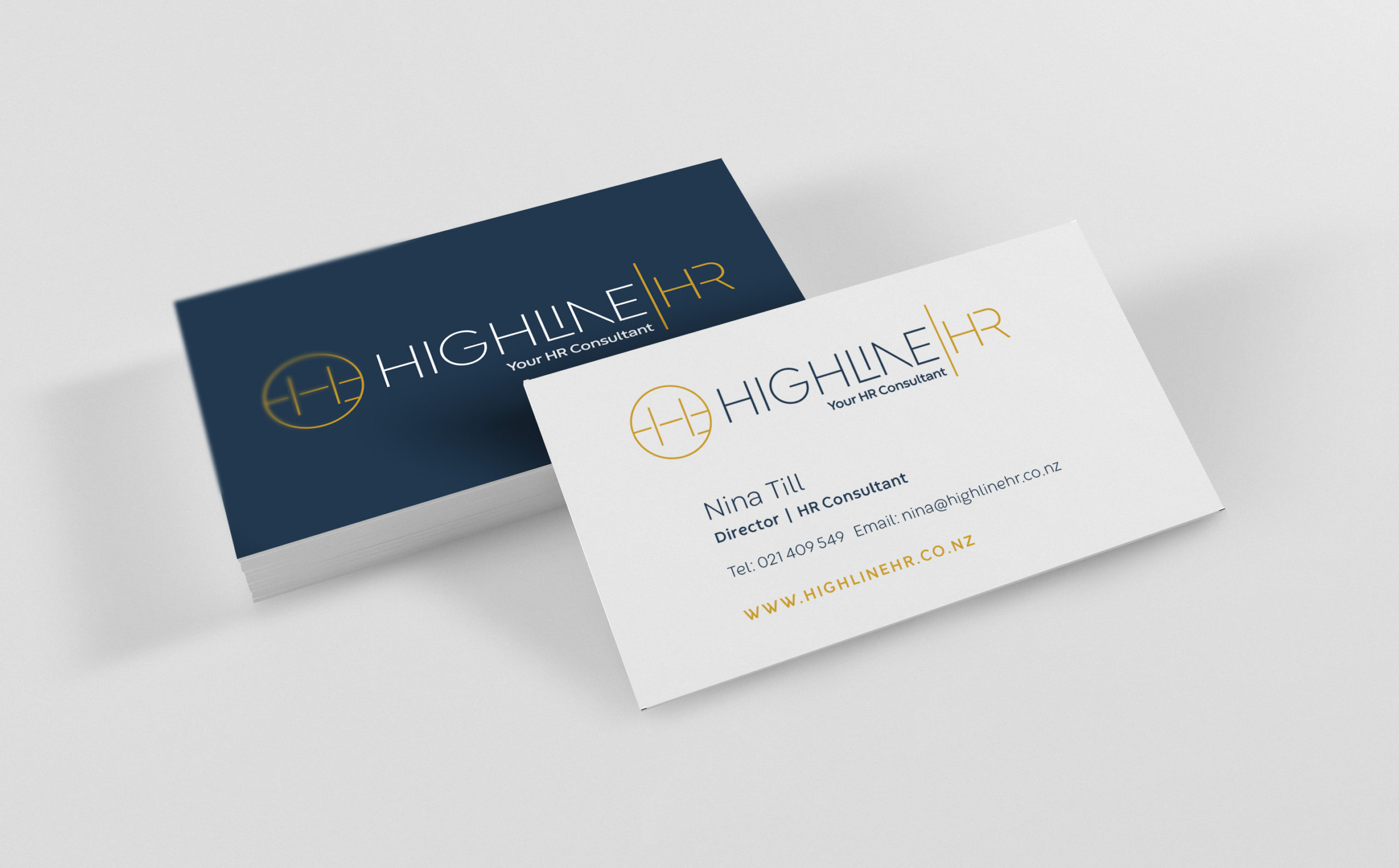 Highline HR business card design Nina Till