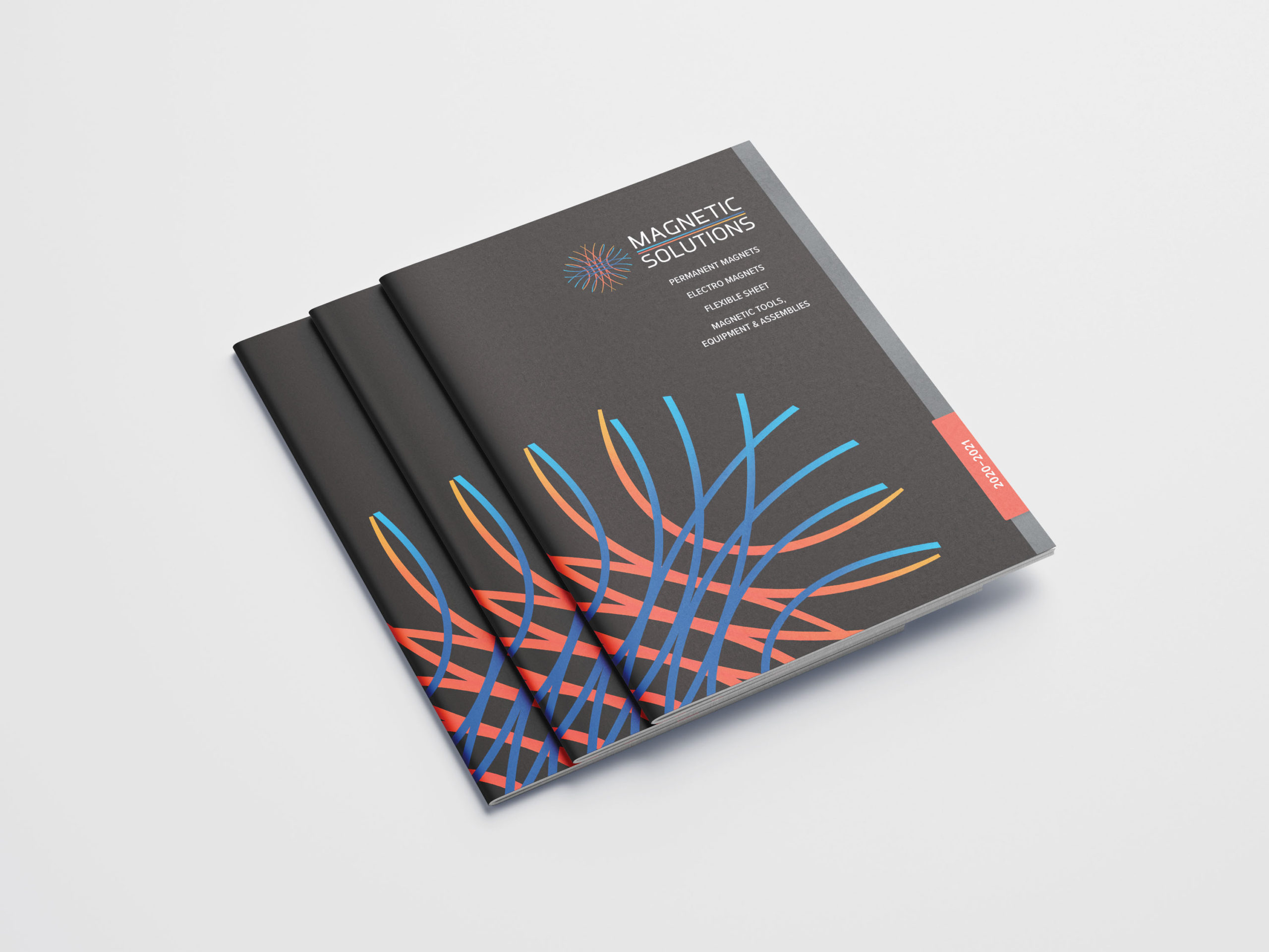 Magnet catalogue cover with bright logo on black background