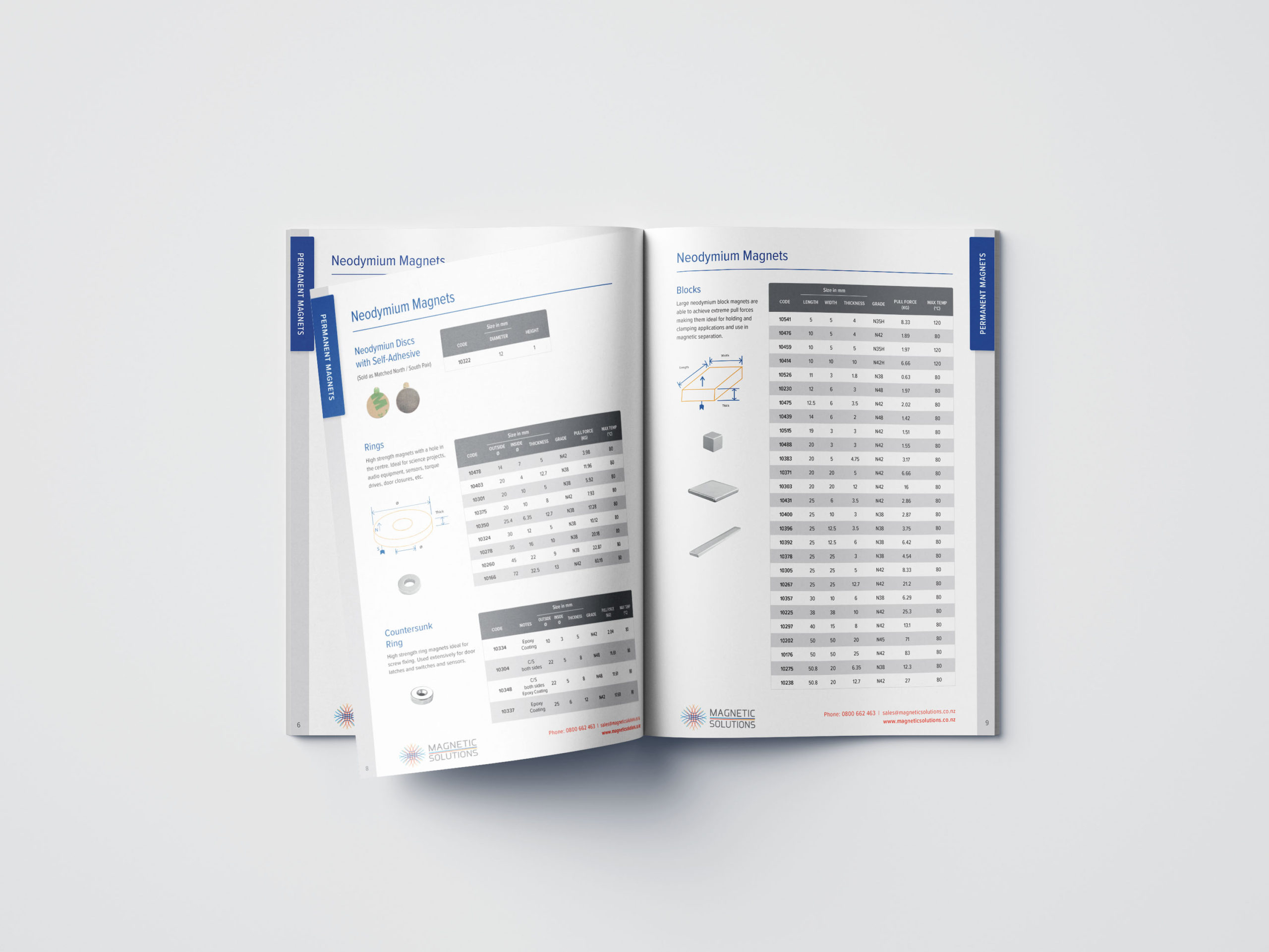 magnet catalogue interior pages with products and data