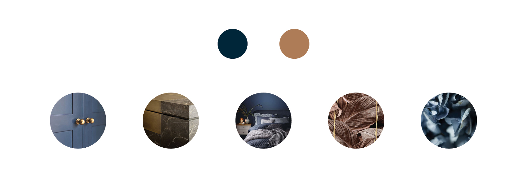mood board with bronze and blue accents and aesthetic